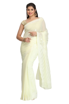 Lemon embroidered faux georgette saree with blouse