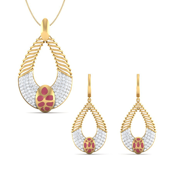 18 Kt Yellow Gold Plated Sterling Silver Women Wedding Ruby & White Studded Traditional Pendant & Earring Set
