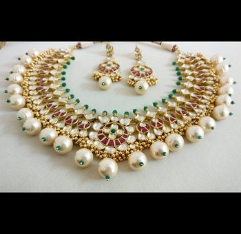 Kundan High End Red and Green Polki Necklace Designer Bridal Set in Silver