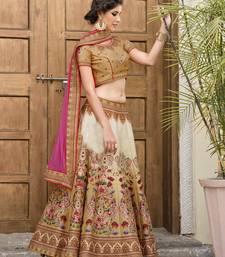 Buy Multicolor printed banglori silk unstitched lehenga wedding-season-sale online