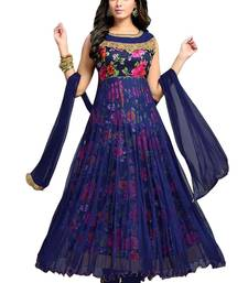 Buy Blue embroidered net semi stitched salwar with dupatta bollywood-salwar-kameez-online online