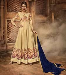 Buy Cream embroidered art silk semi stitched wedding salwar kameez wedding-salwar-kameez online