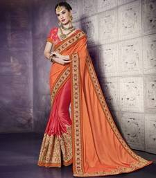 Buy orange and red embroidered satin saree with blouse heavy-work-saree online