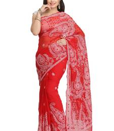 Buy Red embroidered faux georgette saree with blouse chikankari-saris online