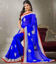 Buy Blue Colour Chiffon With White Resham Heavy Embroidery Sari 394 chiffon-saree online