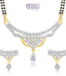 Buy Sukkhi Gracefull Gold and Rhodium Plated Cubic Zirconia Stone Studded Mangalsutra Set(14022MSCZK1400) mangalsutra online