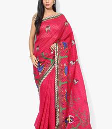Buy Rani pink woven super net saree with blouse supernet-saree online