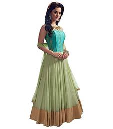 Buy Green embroidered georgette semi stitched salwar with dupatta ethnic-suit online