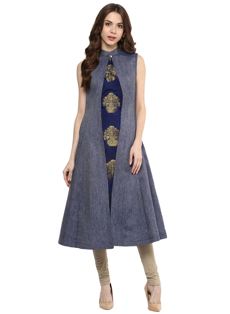 Buy Blue Solid Denim Party Wear Kurti Online