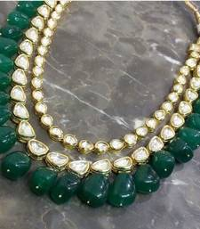 Buy Kundan Necklace with Green Semi precious onyx gemstones black-friday-deal-sale online