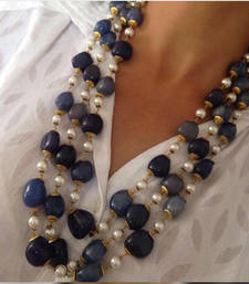 Buy Blue Onyx Gemstones and Glass pearls Mala Necklace Necklace online