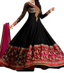 Buy Black embroidered georgette semi stitched salwar with dupatta indian-dress online