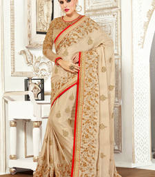 Buy Beige embroidered bemberg saree with blouse ethnic-saree online