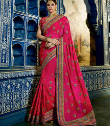 Buy Pink embroidered georgette saree with blouse party-wear-saree online