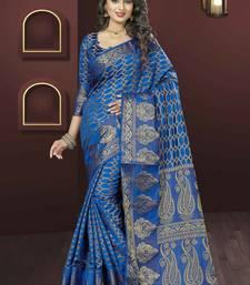 Buy Royal blue woven jacquard saree with blouse jacquard-saree online