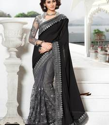 Buy Black embroidered net saree with blouse bridal-saree online