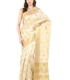 Buy Cream woven tussar silk saree with blouse tussar-silk-saree online