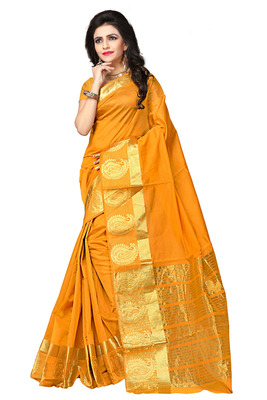 Mustard woven manipuri silk saree with blouse