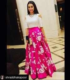Buy Pink embroidered banglory silk unstitched lehenga ghagra-choli online