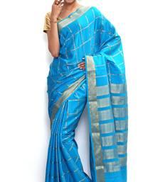 Buy Sudarshan silks Wonderful Pure Mysore silk saree-Blue-SSSB126-VQ-Crepe mysore-silk-saree online
