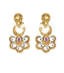 Buy Gold Plated Purple Pota Stone Zinc Alloy Kundan Dangler Earrings Woman online