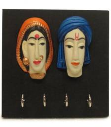 Buy Diwali wall decoration Couple Faces Multicolor Key Holder wall-hanging online
