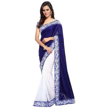 Blue plain velvet saree with blouse