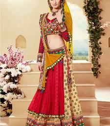 Buy Multicolor embroidered georgette unstitched lehenga lehenga-saree online