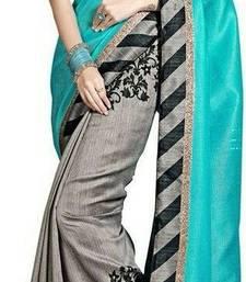 Buy grey printed art silk saree with blouse below-500 online