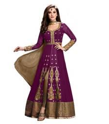 Buy Purple embroidered semi stitched anarkali salwar kameez anarkali-salwar-kameez online
