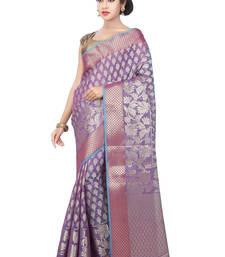 Buy Purple woven art silk saree with blouse art-silk-saree online