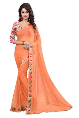 Orange printed nazneen saree with blouse