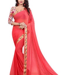 Buy Light peach printed nazneen saree with blouse party-wear-saree online