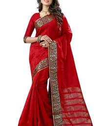 Buy Red woven kanchipuram silk saree with blouse party-wear-saree online
