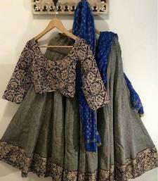 Buy multicolor embroidered silk lehenga with dupatta ghagra-choli online