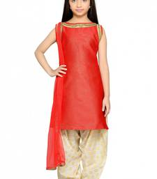 Buy Shiner Red Heavy Brocade Silk Dori Embroidery Lace ReadyMade Kids Straight Patiala Suit (2-12 year girl) black-friday-deal-sale online
