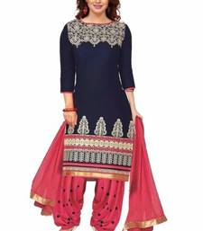 Buy Blue poly cotton printed unstitched salwar with dupatta cotton-salwar-kameez online