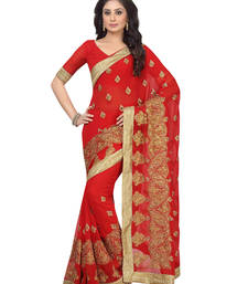 Buy Red embroidered faux georgette saree with blouse party-wear-saree online
