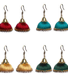 Buy Pack of four traditional silk thread jhumkas combo-earring online