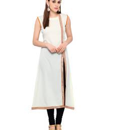 Buy Cream printed crepe party-wear-kurtis party-wear-kurtis online