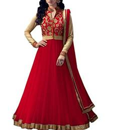 Buy Red embroidered net semi stitched anarkali salwar Kameez anarkali-salwar-kameez online