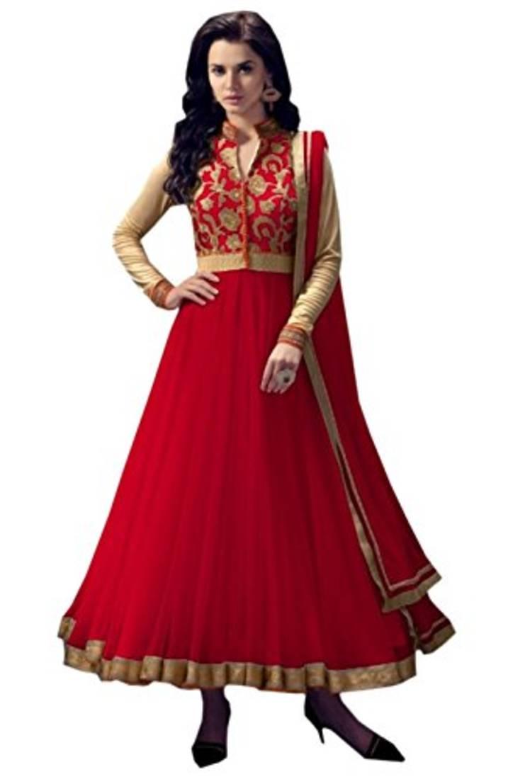 Buy red embroidered net semi stitched anarkali salwar kameez online for How to design salwar kameez at home