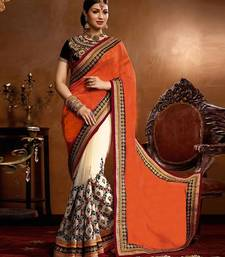 Buy Orange embroidered georgette saree with blouse wedding-season-sale online