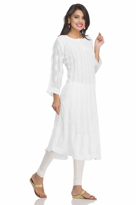 Buy White Hand Embroidred Faux Georgette Lucknow Chikankari Party Wear Anarkali Kurti Online
