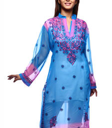 Buy Blue hand embroidred faux georgette casual Wear lucknow chikankari Kurti embroidered-kurti online