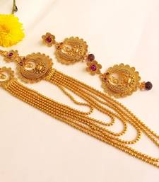 Buy Awesome Purple Kemp Multilayer Necklace Set with Matching Earrings necklace-set online