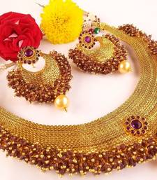 Buy Pretty Purple Gold Plated Necklace Set with Purple Clusters necklace-set online