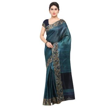 Teal plain tussar silk saree with blouse