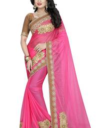 Buy pink Patch Work Lycra saree with blouse designer-embroidered-saree online