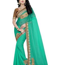 Buy green Patch Work Lycra saree with blouse designer-embroidered-saree online